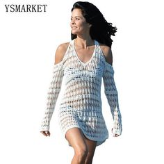c523d30f82bee Summer New Women Elegant Long Sleeves Cut out Shoulder Crochet Beachwear Cover  Up Sexy Hollow Out