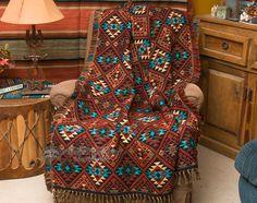 Southwest Jacquard Throw Blanket 50x60 -Sierra (t7) - Mission Del Rey Southwest