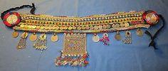"Belt Wide Medallion Studs Coins Bells Afghan Kuchi Tribal Alpaca Silver Belly Dancing 42"" long"