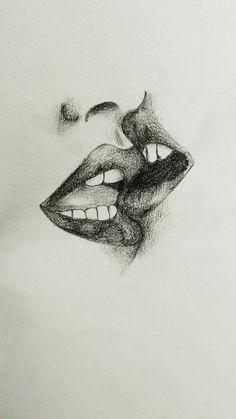 Dibujo sencillo, facil, de dos labios dandose un beso a lapiz y utilizando sombras. #Dibujo #labios #lips #kiss #beso #labios #amor #love #paint #pencil #lapiz
