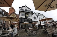 Outdoor cafe in Exeter in Cornwall, England's southwesternmost county.