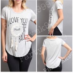 Love you to the moon & back April Spirit heathered Love  you  to the moon and back Fringe Chic Comfiness in Heathered Grey. This is a graphic top lovinginly Made in U.S.A. by supahhhh cool new designer April Spirit. Also available in small medium & lg tell me your size and I will make you a listing! In other sizes or purch this size retails $35 will reduce to after u like to help pay for some of ur Shipping! April Spirit Tops Blouses