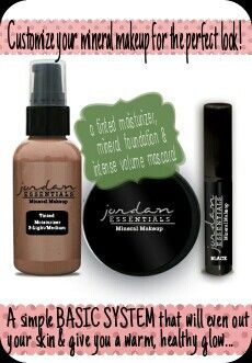 "Create a luminous,  natural look with Jordan Essentials Mineral  Makeup...creamy tinted moisturizer that gives your face a beautiful dewy base, gorgeous mineral foundation that is light yet gives full coverage without looking ""caked""on, and finish a simple makeup  routine with intense volume mascara that's actually good for your eyes & lashes!"