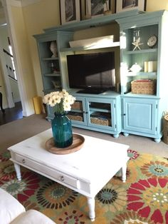 Annie Sloan chalk painted entertainment center | The Style Sisters