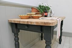 distressed painted pine farmhouse kitchen table by distressed but not forsaken | notonthehighstreet.com