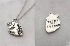 Human Heart Necklace With Engraving Anatomical by BLKANDNOIR