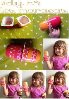 3 quick and easy DIY for children with yogurt pots! Maracas with yogurt pots. Remember to test your activity upstream! Music Instruments Diy, Instrument Craft, Homemade Instruments, Educational Toys For Toddlers, Activities For Kids, Music Crafts, Waldorf Toys, Do It Yourself Crafts, Music For Kids