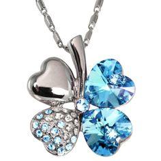 18k Gold Plated Swarovski Crystal Heart Shaped Four Leaf Clover Pendant Necklace – Aquamarine Blue
