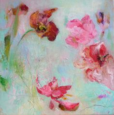 PARROT TULIPS4 Original Abstract Painting on Canvas by Paulina722, $149.00