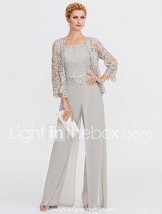 Pantsuit Straps Floor Length Chiffon Corded Lace Mother of the Bride Dress  with Appliques Lace Pleats Split Front by LAN TING BRIDE® 2018 - US  174.99 c551c2100e6