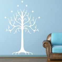 Lord of The Rings White Tree of Gondor Wall Art Sticker Mural White Tree Of Gondor, Ring Home, Baby Flower Headbands, Feather Headband, Wall Decor, Wall Art, Hanging Ornaments, Lord Of The Rings, Wall Sticker