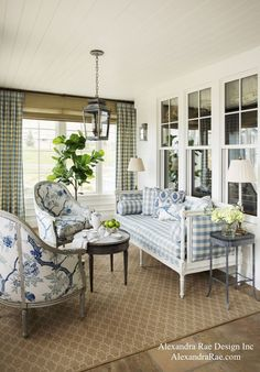 New construction of a traditional family home with a classic Southern California farmhouse style. Interior design and decoration by Alexandra Rae Design. Blue Rooms, White Rooms, Casas Shabby Chic, Living Spaces, Living Room, Farmhouse Design, Farmhouse Style, Farmhouse Ideas, Cottage Style