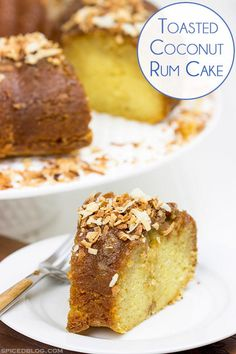 """""""Soaked overnight in dark rum and then topped with toasted coconut, this Toasted Coconut Rum Cake is a great way to celebrate the holidays!"""""""