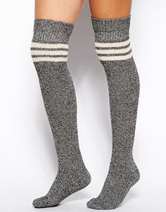 ASOS Mixed Knit Stripe Over The Knee Socks