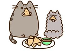 Pusheen & Stormy: chips and salsa