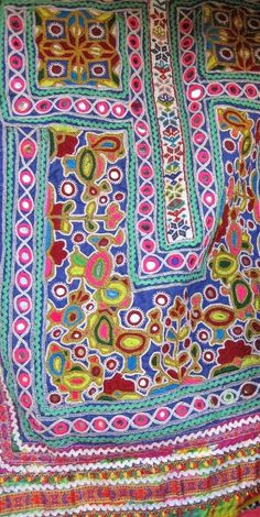 Colors of a barren Rann of Kutch - embroidered front panel of a Kutchi woman's dress