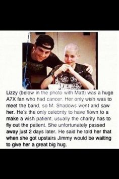 Matt is awesome. Making this girl's wish come true. << oh my god this is so wholesome Emo Bands, Music Bands, Soul Music, My Music, My Favorite Music, Favorite Quotes, Matt Shadows, Matt Sanders, Zacky Vengeance