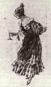 Mimì's costume for act 1 of La bohème designed by Adolfo Hohenstein for the world premiere