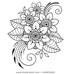 Mehndi flower pattern for henna drawing and tattoo decoration in ethnic oriental indian style kubrick ho s delicate tattoos for women Henna Kunst, Henna Art, Floral Embroidery Patterns, Flower Patterns, Mehndi Flower, Flower Pattern Drawing, Henna Drawings, Indian Flowers, Indian Paintbrush
