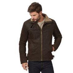 Barneys Big and tall brown buckle neck 'harrington' jacket – . –
