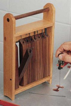 Scroll Saw Blade Caddy Plan. Woodworkersjourna& Scroll Saw Blade Caddy Plan. Woodworkersjourna& The post Scroll Saw Blade Caddy Plan. Rockler Woodworking, Learn Woodworking, Woodworking Workshop, Woodworking Techniques, Popular Woodworking, Woodworking Furniture, Woodworking Crafts, Woodworking Patterns, Woodworking Machinery