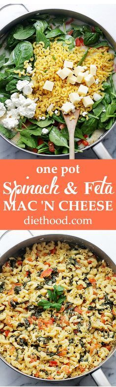 One Pot Spinach & Feta Macaroni and Cheese - Stove top, one pot Mac and Cheese covered in a creamy feta cheese sauce, tomatoes and fresh spinach. Dinner will be ready in 30 minutes! Get the recipe on diethood.com