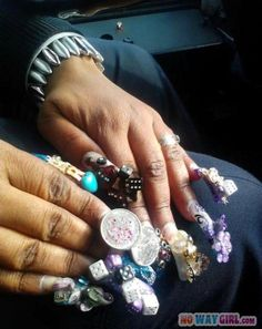 Ghetto Nails Of The Day...Really, no damn excuse for this type of ignorant, ratchet shit!..