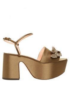 a2be86168 Crystal-embellished satin flatform sandals