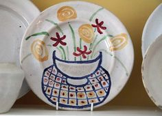 new addition to shelf - rare Omega Workshops plate decorated by Vanessa Bell 1914