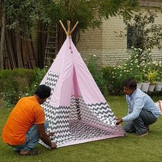 Teepee For Sale, Kids Teepee Tent, Play Tents, Tent Sale, Grey Chevron, Pink Grey, Childrens Tent, Bamboo Poles, Kids Zone