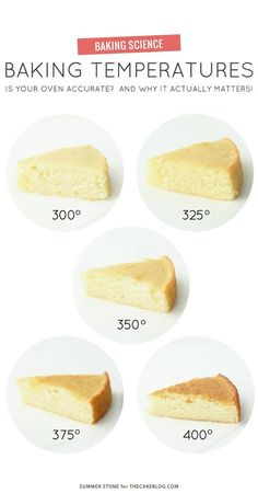 Baking Temperatures Tutorial If your oven accurate? A side-by-side comparison of different baking temperatures, highlighting why accurate oven temps actually matter! Baking Science, Science Cake, Food Science, Cake Decorating Tips, Cake Decorating Techniques, Baking Tips, Baking Hacks, Baking Secrets, Baking Basics