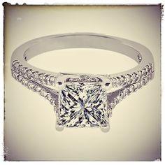 Princess Diamond Engagement Ring Trellis Split Band with pave Round Diamonds