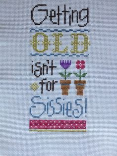 completed cross stitch Lizzie Kate Getting Old isn't for Sissies!