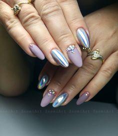 Nails *nail art * matte * purple * holochrome