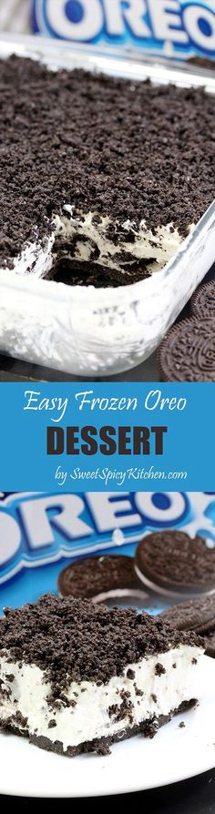 This Easy Frozen Oreo dessert is a light, frozen summer dessert . so easy to prepare - just perfect for Oreo biscuit fans This Easy Frozen Oreo dessert is a light, frozen summer dessert . so easy to prepare - just perfect for Oreo biscuit fans Dessert Oreo, Oreo Desserts, Dessert Party, Frozen Desserts, Easy Desserts, Delicious Desserts, Yummy Food, Homemade Desserts, Dessert Food