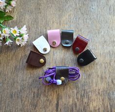 leather Cable Organizer Leather Earphone Holder от jewelryleather