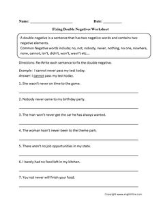 Double Negatives Worksheets | Mreichert Kids Worksheets