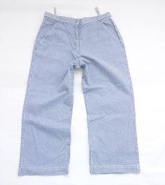Vintage White Blue Pinestripe Denim HS Zip Fly High Waist