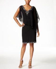 J Kara Beaded Flutter-Sleeve Chiffon Dress