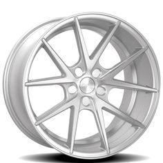 """20"""" Staggered Rennen Wheels CRL55 Silver Brushed Rims"""