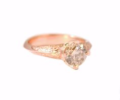 CATHEDRAL ROSE GOLD RING. Champagne Diamond set in a Rose Gold Cathedral style band with hand engraving. www.loveandhatred.com