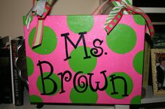 Hand Painted Canvas/ Teacher Door Sign by isabelandrew on Etsy, $30.00