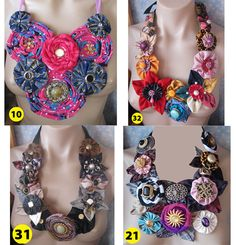 Handmade Rolled Fabric Flower Rose Statement Necklace by vitbich, $34.99