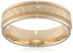 Amazon.com: Men's 14K Yellow Gold 6mm Comfort Fit Hammered Design Wedding Band: Jewelry