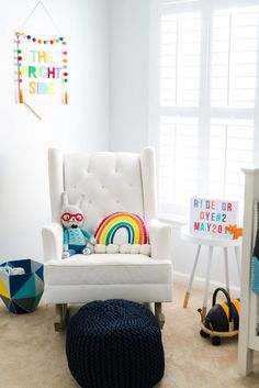Bright, Colorful, Cheerful, Rainbow Nursery on Project Nursery Bright Nursery, White Nursery, Nursery Neutral, Girl Nursery, Neutral Nurseries, Rainbow Nursery Decor, Modern Nurseries, Girl Room, Nursery Artwork