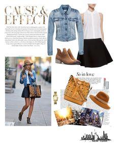 Celebrity style at NY by updatesfashion on Polyvore featuring polyvore fashion style Equipment VILA Neil Barrett MCM Tory Burch Jigsaw Revlon Kerr® Envi