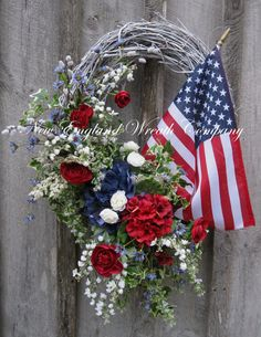 Traditional Summer Garden Wreath with American Flag by NewEnglandWreath