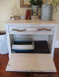 Repurposed dresser:  Dresser turned into cat litter box container