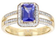 .91ct Rectangular Octagonal Emerald Cut Tanzanite With .26ctw Round White Diamond 10k Gold Ring
