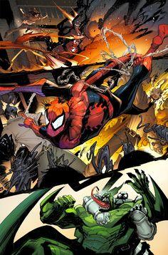 My pencil and inks, the amazing David Curiel's colors Amazing Spiderman, Spiderman Art, Dc Comics Art, Marvel Dc Comics, Comic Books Art, Comic Art, Book Art, Comics Online, Marvel Universe